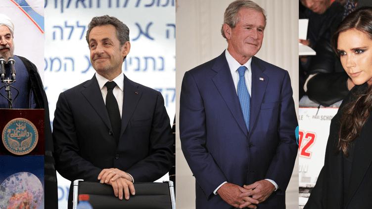 Nicolas Sarkozy (G), George W Bush (C) et Victoria Beckham devraient être présents pour rendre hommage à Nelson Mandela mardi 10 décembre 2013, à Johannesburg (Afrique du Sud). (FRANCETV INFO / AFP)