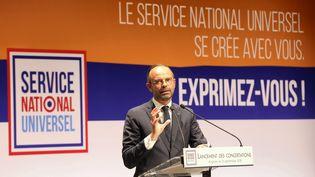 Édouard Philippe lors du lancement des concertations territoriales sur le service national universel. (ANG?LIQUE SUREL / MAXPPP)