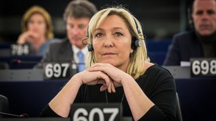 La présidente du Front national, Marine Le Pen, le 28 avril 2015 au Parlement européenà Strasbourg (Bas-Rhin). (CITIZENSIDE / CLAUDE  TRUONG-NGOC / AFP)