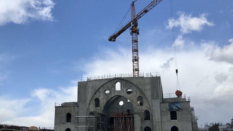 Chantier de construction de la mosquée Eyyub Sultan de Strasbourg (Bas-Rhin), le 6 avril 2021 (MARIE MAHEUX / FRANCE-BLEU ALSACE)