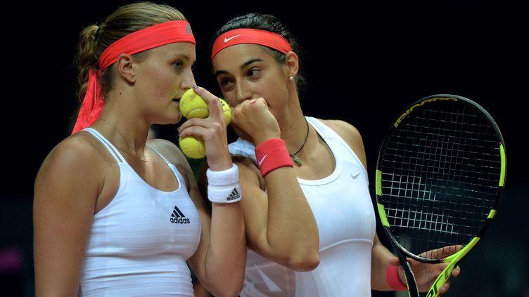 Les joueuses tricolores Kristina Mladenovic et Caroline Garcia
