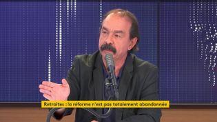 """Le secrétaire général de la CGT, Philippe Martinez, était l'invité du """"8h30 franceinfo"""" mardi 16 juin 2020. (FRANCEINFO / RADIOFRANCE)"""