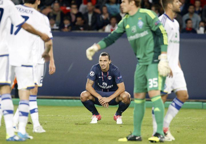 Zlatan Ibrahimovic lors du match du PSG face au Dinamo Kiev le 18 septembre 2012. (XAVIER LAINE / GETTY IMAGES)