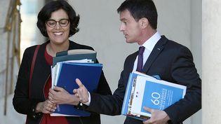 La ministre du Travail, Myriam El Khomri, et le Premier ministre, Manuel Valls, le 4 mai 2016 à l'Elysée. (STEPHANE DE SAKUTIN / AFP)