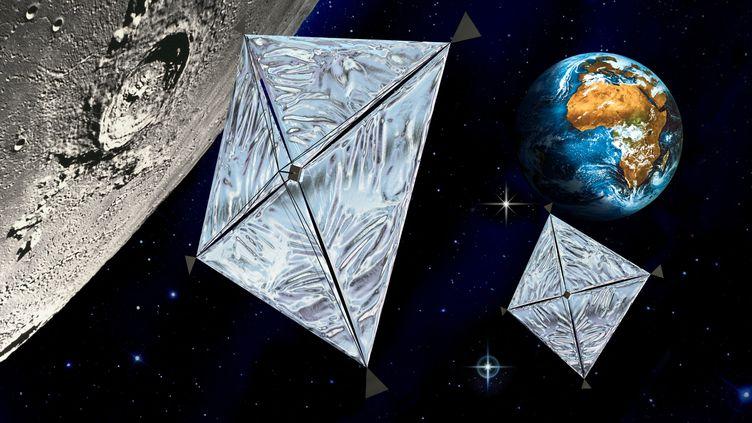 Voiles solaires. Vue d'artiste de sondes utilisant le vent solaire et les photons émis par le Soleil comme moyen de propulsion. (D.DUCROS / LEEMAGE VIA AFP)