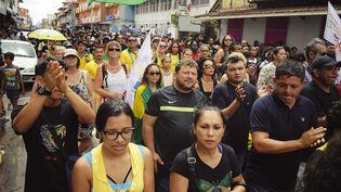 Manifestation et grève illimitée dans le département français de La Guyane, le 28 mars 2017. (LOÏK ARZUR / MAXPPP)