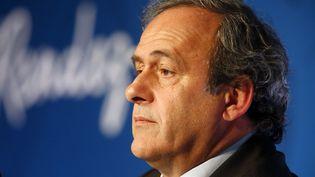 Michel Platini participe à une conférence de presse consacrée à l'Euro 2016, le 10 juin 2015, à Paris. (CHARLES PLATIAU / REUTERS)