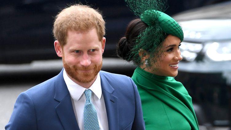 Le prince Harry et Meghan Markle, à Londres, le 9 mars 2020. (NEIL HALL / EPA)