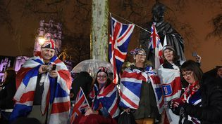 Des Britanniques célèbrent le Brexit, vendredi 31 janvier 2020, à Londres. (KATE GREEN / ANADOLU AGENCY / AFP)