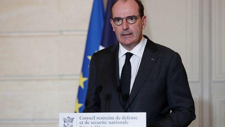 Jean castex, le Premier ministre, le 29 janvier 2021, au Palais de l'Elysée. (BENOIT TESSIER / POOL)