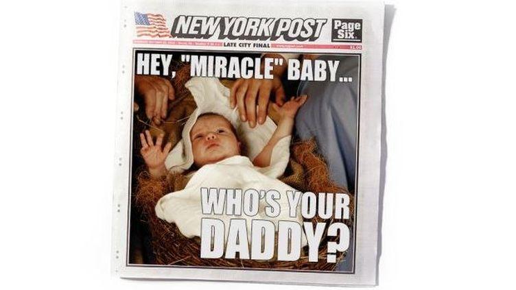 """La une du """"New York Post"""" sur la naissance de Jésus imaginée par le """"New York Magazine"""", le 25 décembre 2013. (NEW YORK MAGAZINE)"""