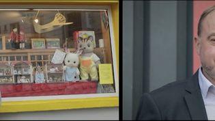 Depuis 17 ans, Esperanza et Gilles Georgieff possèdent un magasin de jouetsà Paris. À deux mois de Noël, les rayons de jouets de leur boutique sont vides, car la boutique est fermée pour cause de crise sanitaire. (CAPTURE ECRAN FRANCE 2)