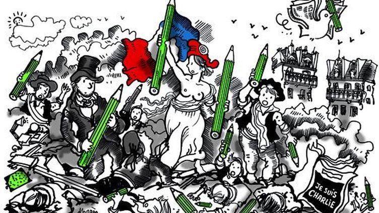"""(Le dessin de Plantu pour le quotidien """"Le Monde"""" daté de ce week-end, inspiré par """"La Liberté guidant le peuple"""" de Delacroix.)"""