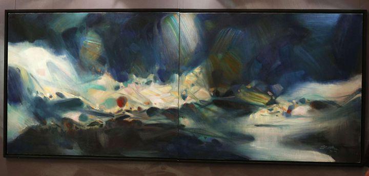 """""""Lumière éternelle"""", tableau deChu Teh-Chun, présenté à des enchères à Hong Kong (25 novembre 2012)  (Vincent Yu / AP / Sipa)"""