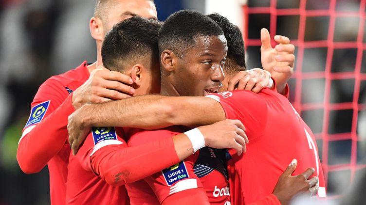 Les Lillois après l'ouverture du score face au FC Nantes (DENIS CHARLET / AFP)