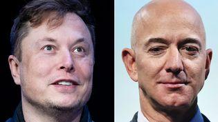 Elon Musk (à gauche) etJeff Besos, les milliardaires américains. (AFP)