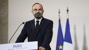 Le Premier ministre, Edouard Philippe, le 11 décembre 2019, lors de la présentation de la réforme des retraites devant le Conseil économique, social et environnemental (Cese) à Paris. (THOMAS SAMSON / AFP)