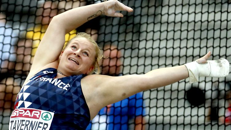 Alexandra Tavernier aux championnats d'Europe d'athlétisme, à Berlin, le 12 août 2018. (FELIPE TRUEBA / EPA)
