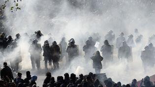 Face à face entre manifestants et policiers, lors de la manifestation du 1er mai 2016, à Paris. (ALAIN JOCARD / AFP)