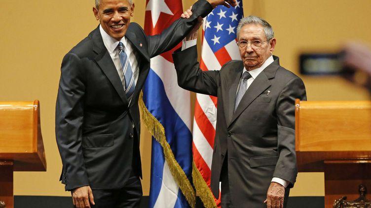 Le président américain, Barack Obama, et son homologue cubain, RaulCastro, le 21 mars 2016 à La Havane (Cuba). (SIPANY / SIPA)