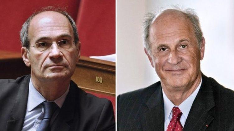 Eric Woerth (G.) et Patrice de Maistre. (FRED DUFOUR / STEPHANE COMPOINT / AFP)