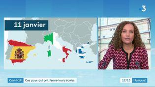 Dans le contexte épidémiologique, la question de l'école agite le débat. Que font nos voisins européens ? Sandrine Aramon a fait le point sur le plateau du 12/13 de France 3, mercredi 6 janvier. (France 3)