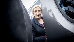 La candidate du Front national à l'élection présidentielle, Marine Le Pen, lors d'un déplacement à Dol-de-Bretagne (Ille-et-Vilaine), le 4 mai 2017. (JEAN CLAUDE MOSCHETTI / REA)