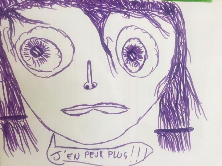 Un dessin du fils de Lisa, César, le 20 mars 2020. (LISA / FRANCEINFO)