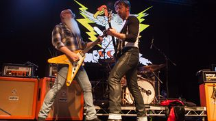 Le groupe de rock américain Eagles of Death Metal en concert à Newcastle (Royaume-Uni) le 9 novembre 2015. (MAXPPP)