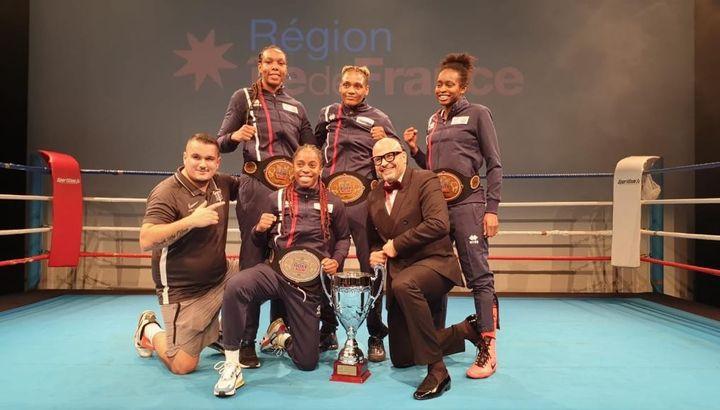 Davina Michel, Fanny Galle, Mariame Sidibe, Jeyssa Marcel, quatre championnes de France issues du Boxing club de Garges-lès-Gonesse (KHALID ZAOUCHE)