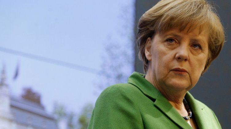 La chancelière allemande Angela Merkel à Prague (République tchèque) le 3 avril 2012. (MATEJ DIVIZNA / AFP)