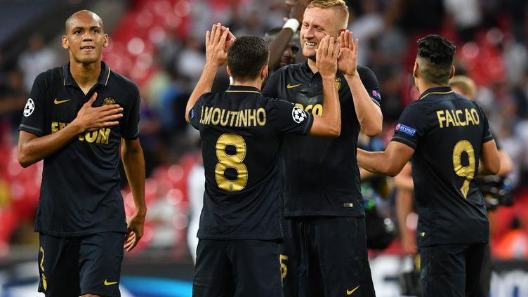 La joie des joueurs de l'AS Monaco après leur victoire contre Tottenham en C1 (BEN STANSALL / AFP)