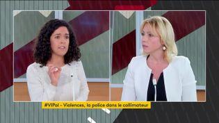Manon Aubry et Florence Portelli débattent sur le plateau de franceinfo, le 27 novembre 2020, à Paris. (FRANCEINFO)