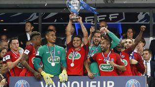 Le Parisien Thiago Silva brandit la Coupe de France, après la victoire du PSG sur Angers (1-0), le 27 mai 2017 au Stade de France, à Saint-Denis (Seine-saint-Denis). (THOMAS SAMSON / AFP)