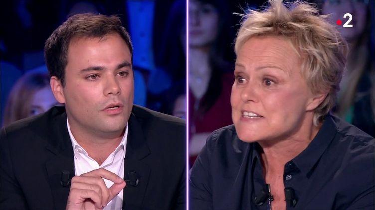 """Charles Consigny et Muriel Robin, sur le plateau d'""""On n'est pas couché"""", le 20 octobre 2018. (""""On n'est pas couché"""")"""