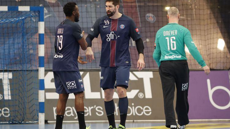 Les internationaux français du PSG, Luc Abalo, Nikola Karabatic et Thierry Omeyer, satisfaits (STEPHANE ALLAMAN / STEPHANE ALLAMAN)