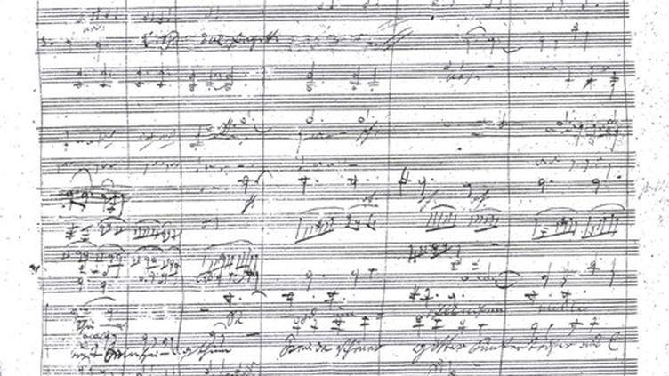 Page manuscrite du quatrième mouvement de la Neuvième symphonie de Beethoven (DOMAINE PUBLIC)