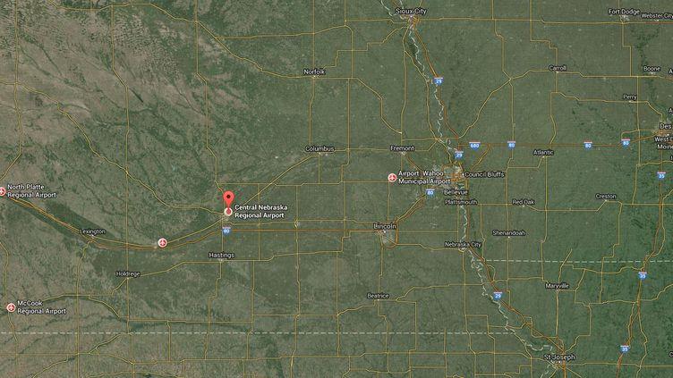 Capture d'écran d'une carte pointant l'aéroport régional du Nebraska (Etats-Unis). ( GOOGLE MAPS)