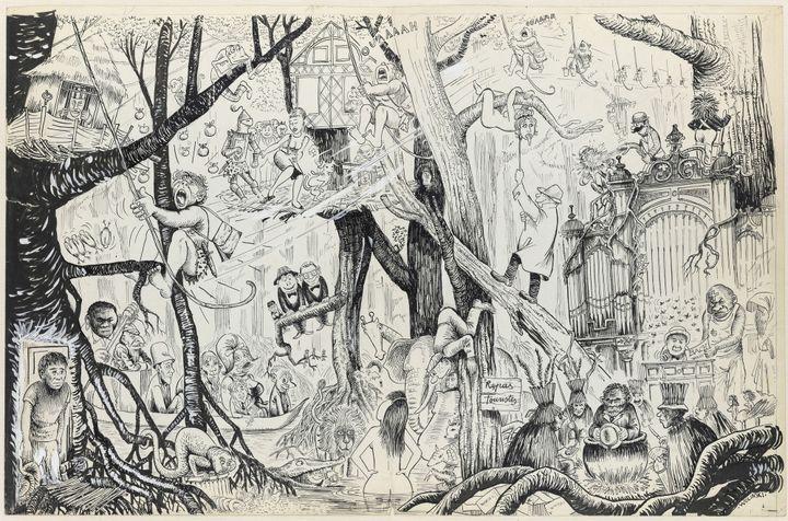 """La jungle"" de Wolinski, dessin original, début 1960.  (Wolinski)"