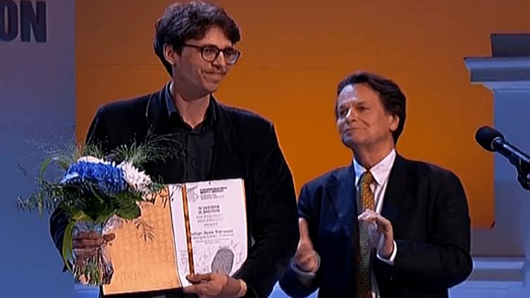 Lucas Debargue lors de la remise de son prix au Concours Tchaïkovsky 2015.  (Medici.tv)