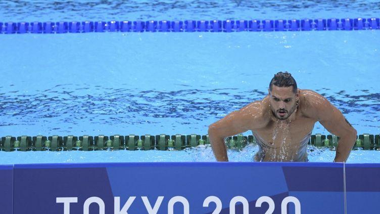 Florent Manaudou lors d'un entraînement au centre aquatique de Tokyo, le 22 juillet 2021. (KEMPINAIRE STEPHANE / KMSP)