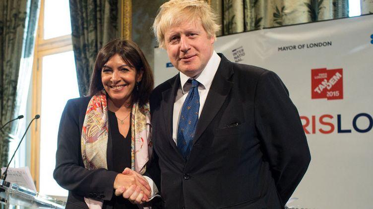 Le maire de Londres Boris Johnson en visite à Paris où il lance avec Anne Hidalgo, la maire de la capitale française, un tandem entre leurs deux villes (5 février 2015)  (Revelli-Beaumont / SIPA)