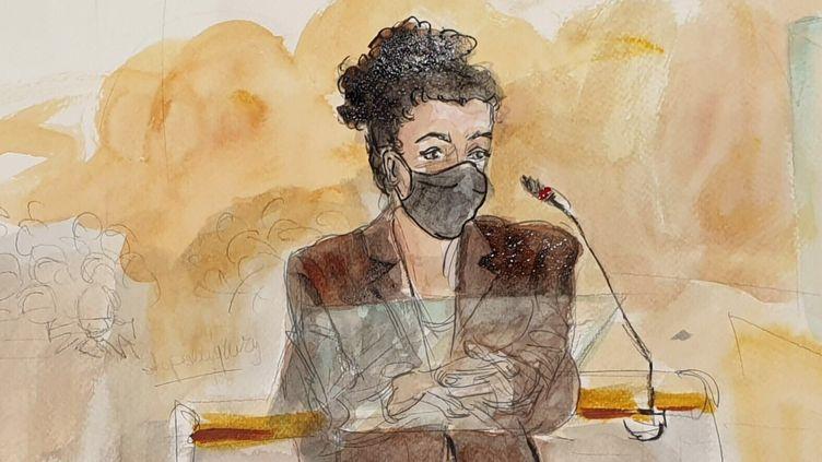 La dessinatrice Coco, le 8 septembre 2020, lors de son audition au procès des attentats de janvier 2015. (ELISABETH DE POURQUERY / FRANCEINFO)