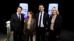 Christian Estrosi (Les Républicains-UDI), Sophie Camard (EELV), Christophe Castaner (PS) et Marion Maréchal-Le Pen (FN), candidats aux élections régionales en Provence-Alpes-Côte d'Azur, lors d'un débat à Marseille, le 21 octobre 2015. (MAXPPP)