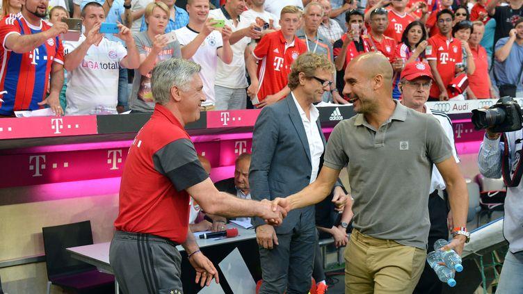Bonne ambiance entre Pep Guardiola et Carlo Ancelotti (JOERG KOCH / ANADOLU AGENCY)