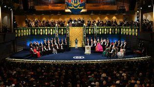 La cérémonie des Nobel 2018 réunissant les lauréats toutes catégories, la famille royale suédoise ainsi que les membres du comité Nobel, au Concert Hall de Stockholm le 10 décembre 2018. (JONATHAN NACKSTRAND)