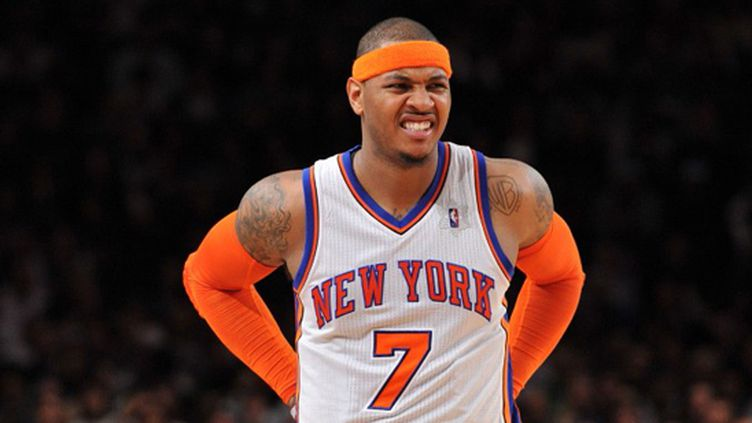 Carmelo Anthony grimace (CHRISTOPHER PASATIERI / GETTY IMAGES NORTH AMERICA)