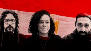 Mohamed, Shahinaz et Ayman ont quitté l'Egypte pour la France. (ELLEN LOZON / FRANCEINFO)