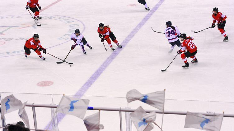 L'équipe féminine de hockey affronte la sélection suisse, le 10 février 2018, à Gangneung (Corée du Sud). (JUNG YEON-JE / AFP)