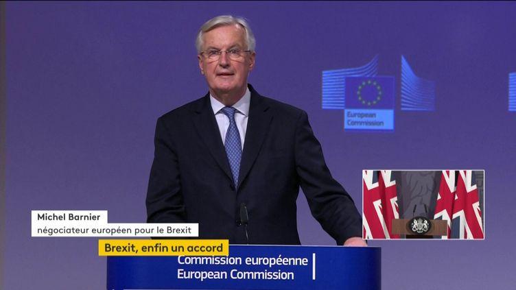 Michel Barnier, le 24 décembre 2020, à l'annonce de l'accord trouvé entre Bruxelles et Londres sur l'après Brexit. (FRANCEINFO)